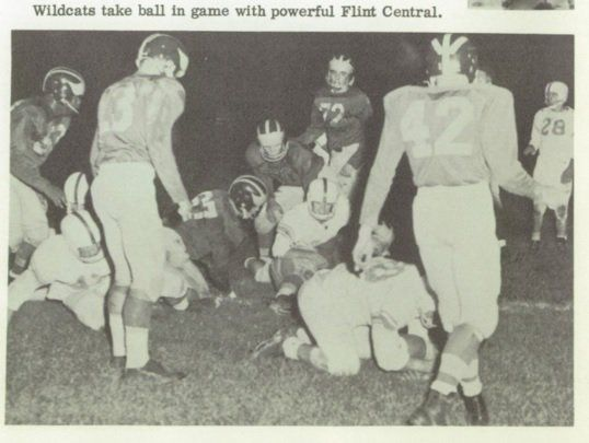 Alpena High School football team vs Flint Central - pic from 1958 Alpena yearbook