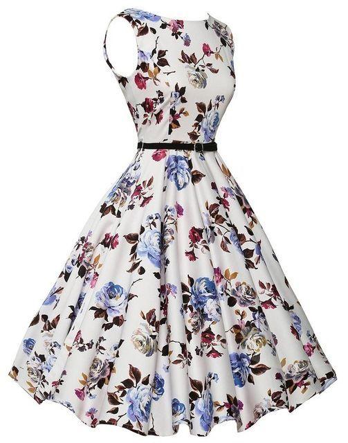 Summer women dress oneck vintage floral printing dress party dresses plus size v…