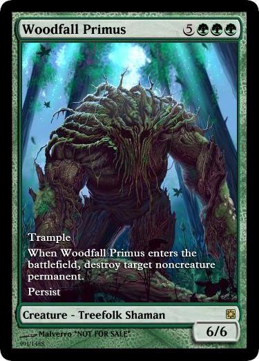 Mtg altered art card-Woodfall Primus