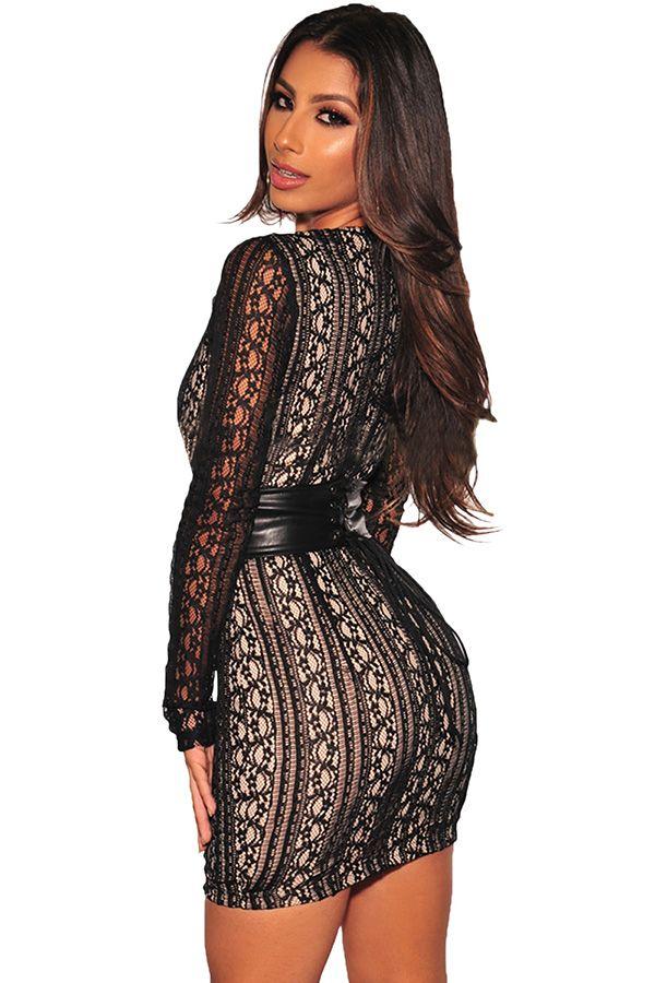 FIYOTE Sexy Black Lace Nude Mini Dress LC22535 Vestido de