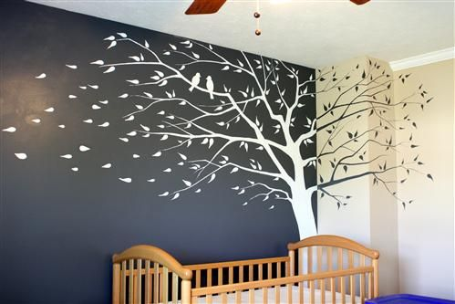 Grey And White Tree Mural For The Nursery
