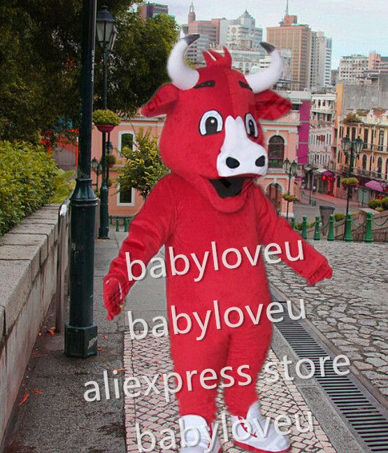New red bull cow mascot costume fursuit halloween costumes party - party city store costumes