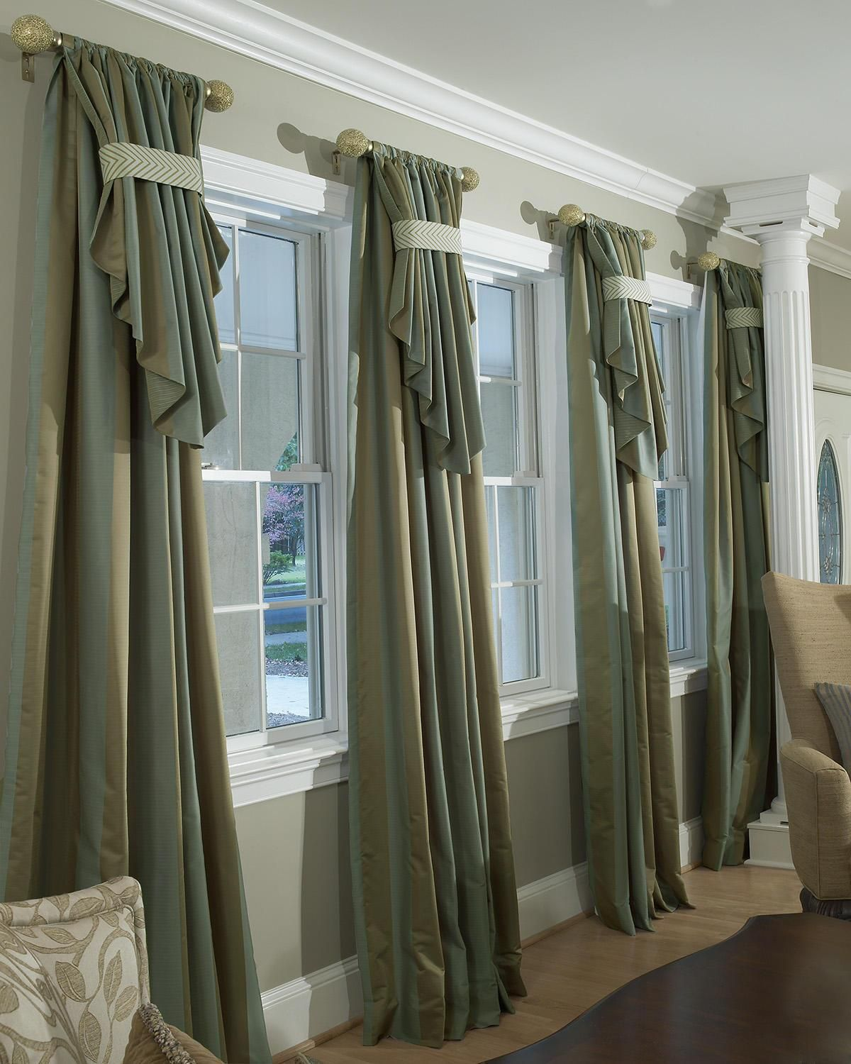 Decorating den interiors shelley rodner c i d custom Drapery treatments ideas