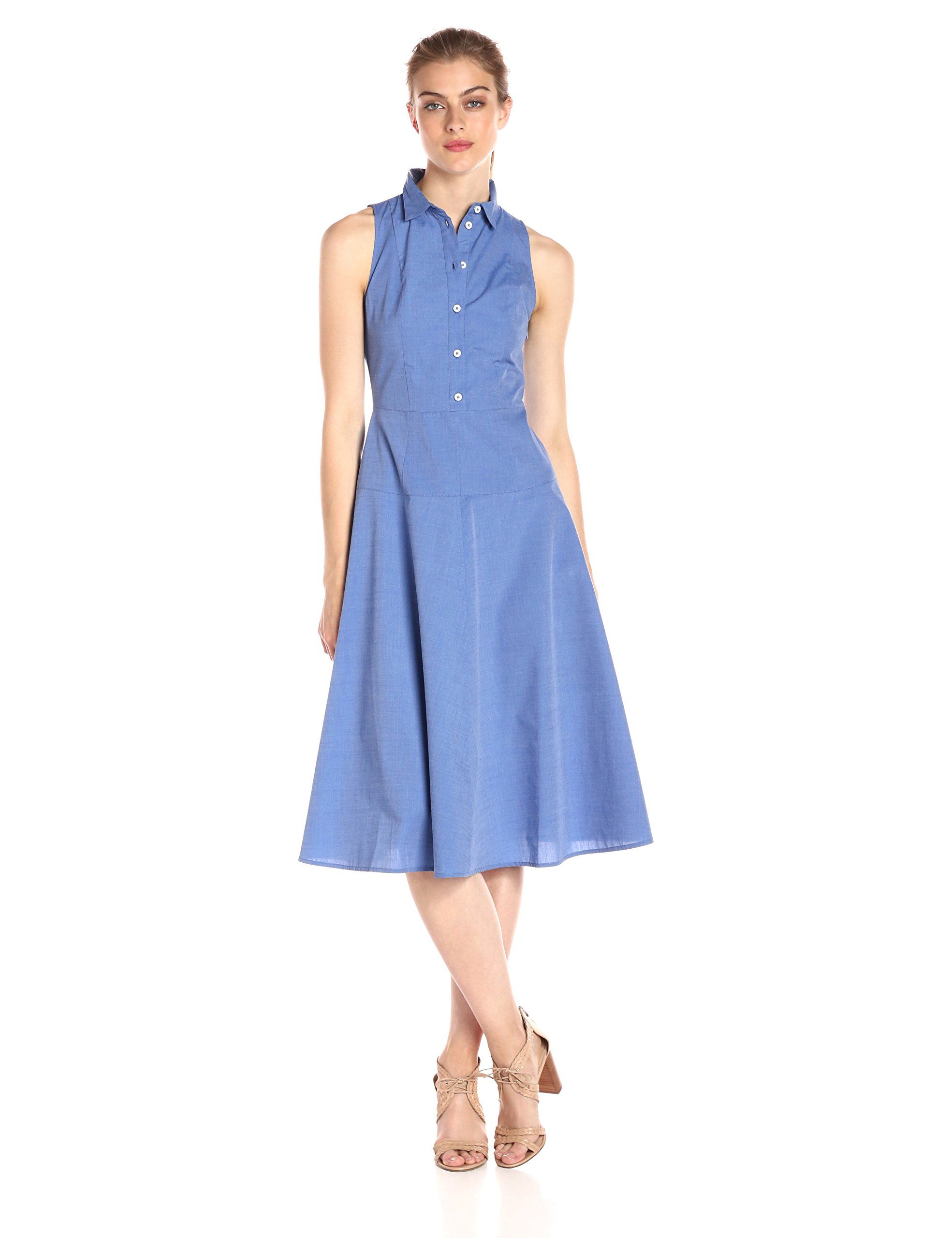 8c8c41bbde2e2c AX Armani Exchange Womens Collared Button up Sleeveless Midi Dress Blue 8      Learn more by visiting the image link-affiliate link.  Dresses