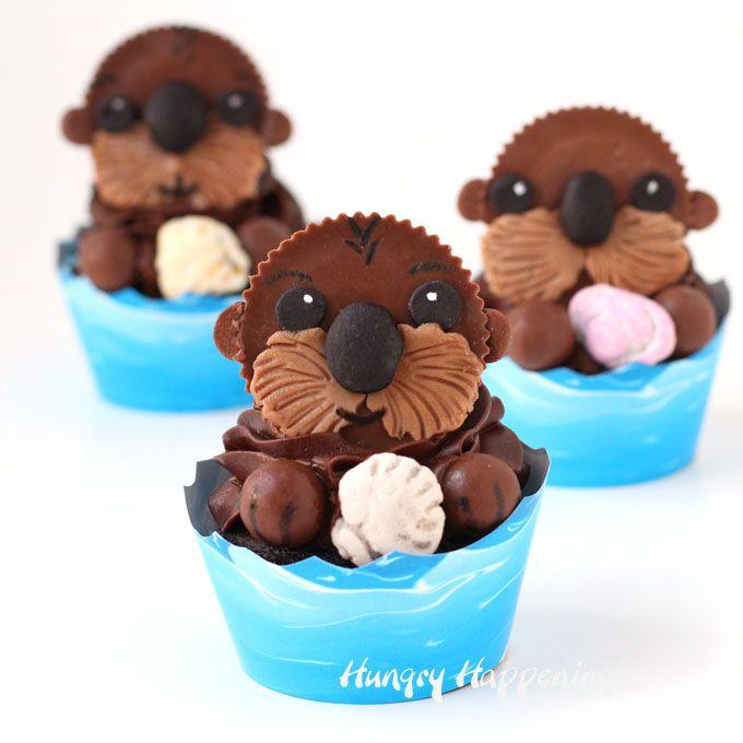 sea otter cupcakes finding dory treats cupcake recipes pinterest cupcake rezepte. Black Bedroom Furniture Sets. Home Design Ideas