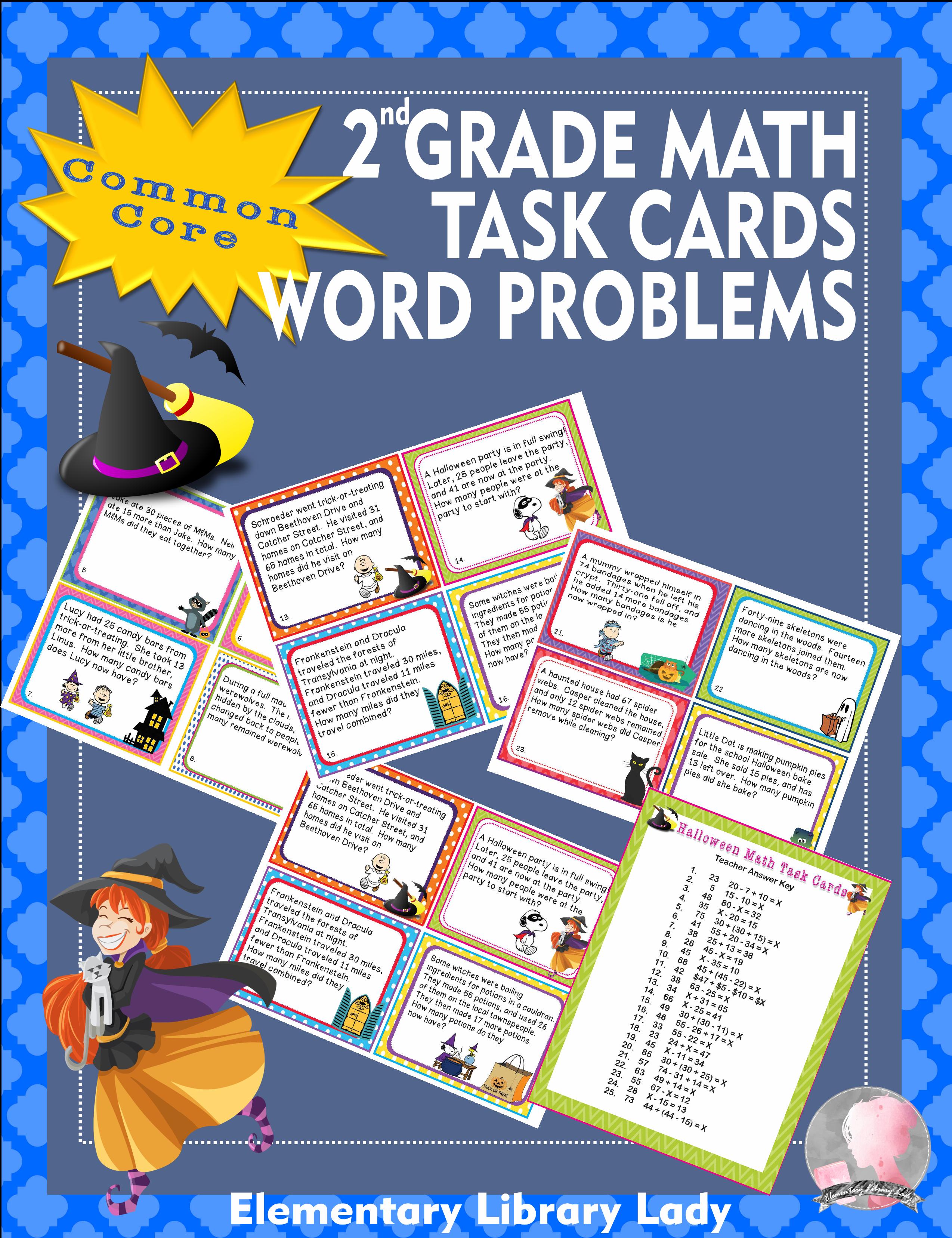 Halloween Math 2nd Grade Task Cards Word Problems