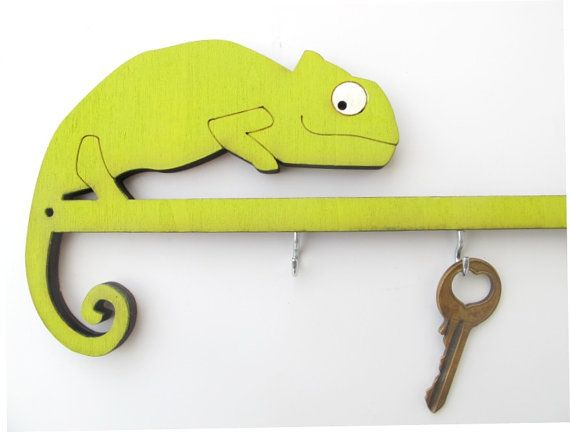 Chameleon key hook, unique wooden keys holder, chameleon wall decor ...