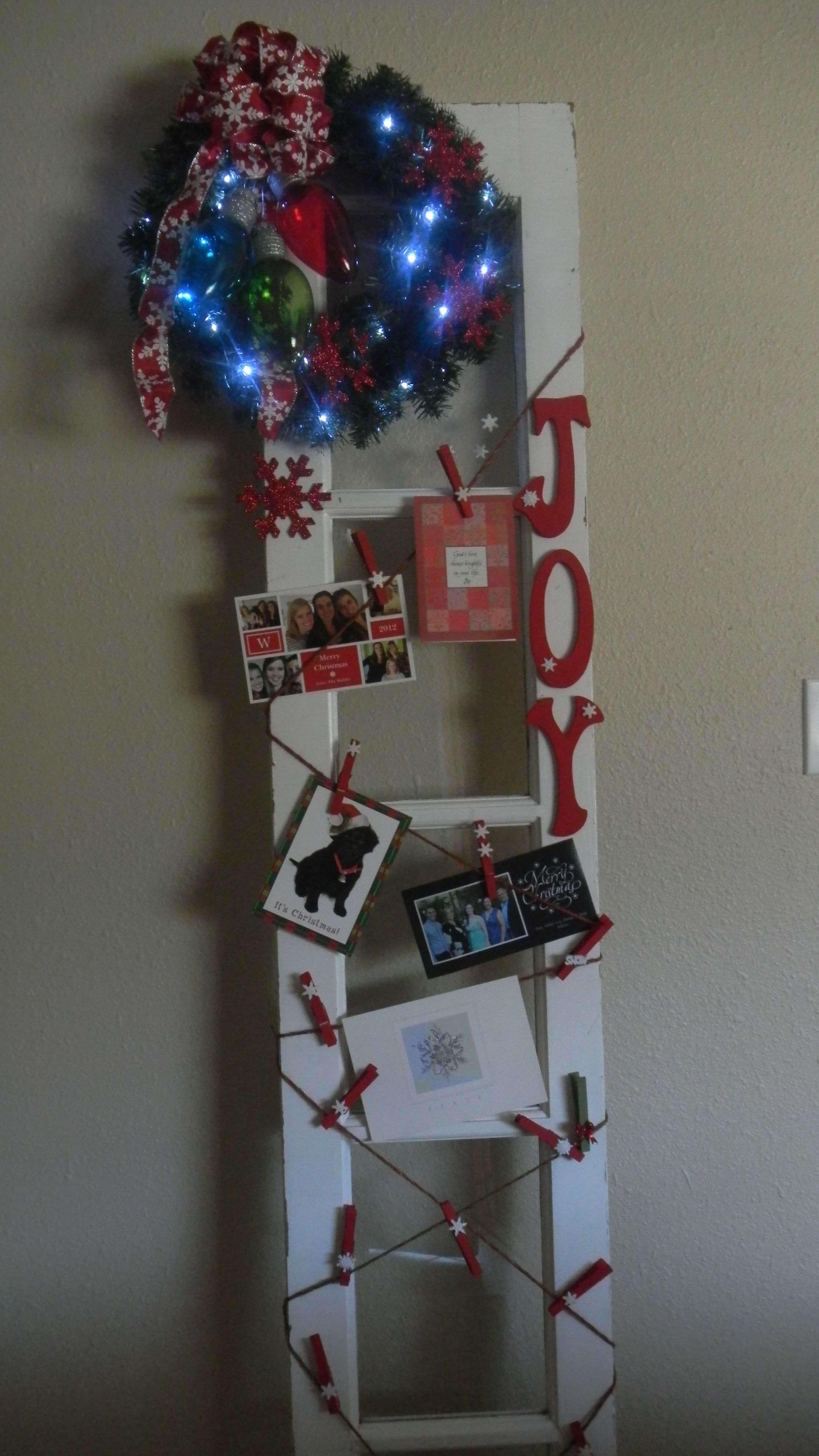Old door side light, now Christmas card holder. | Christmas & New ...