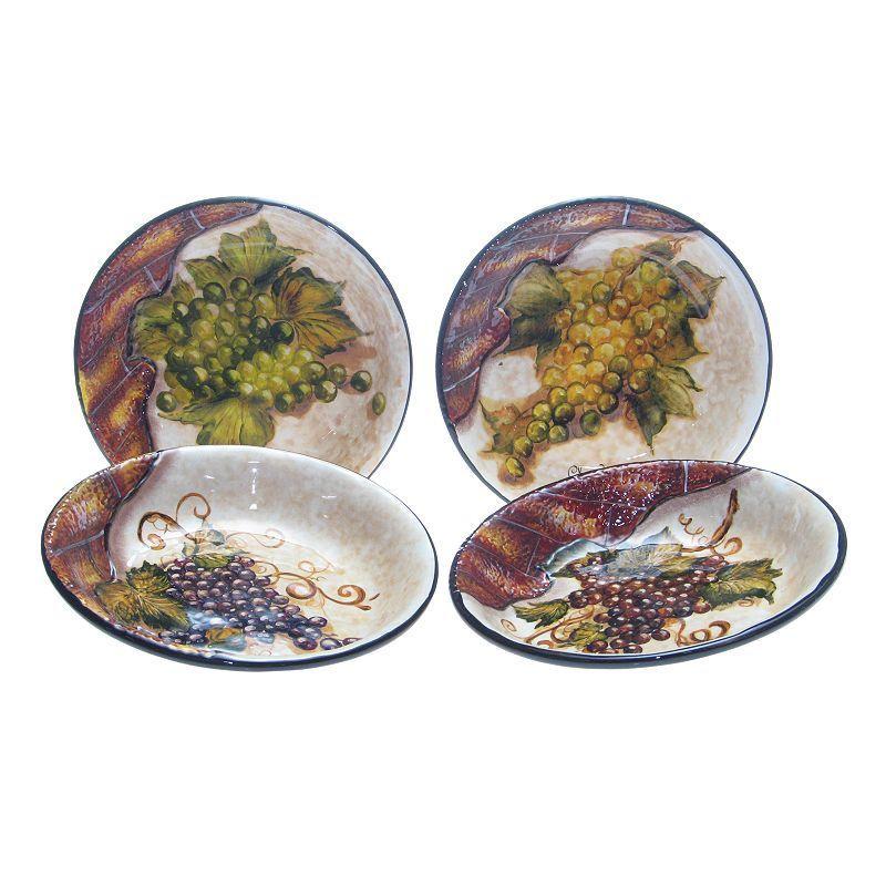 Certified International Wine Cellar 4 Pc Pasta Bowl Set
