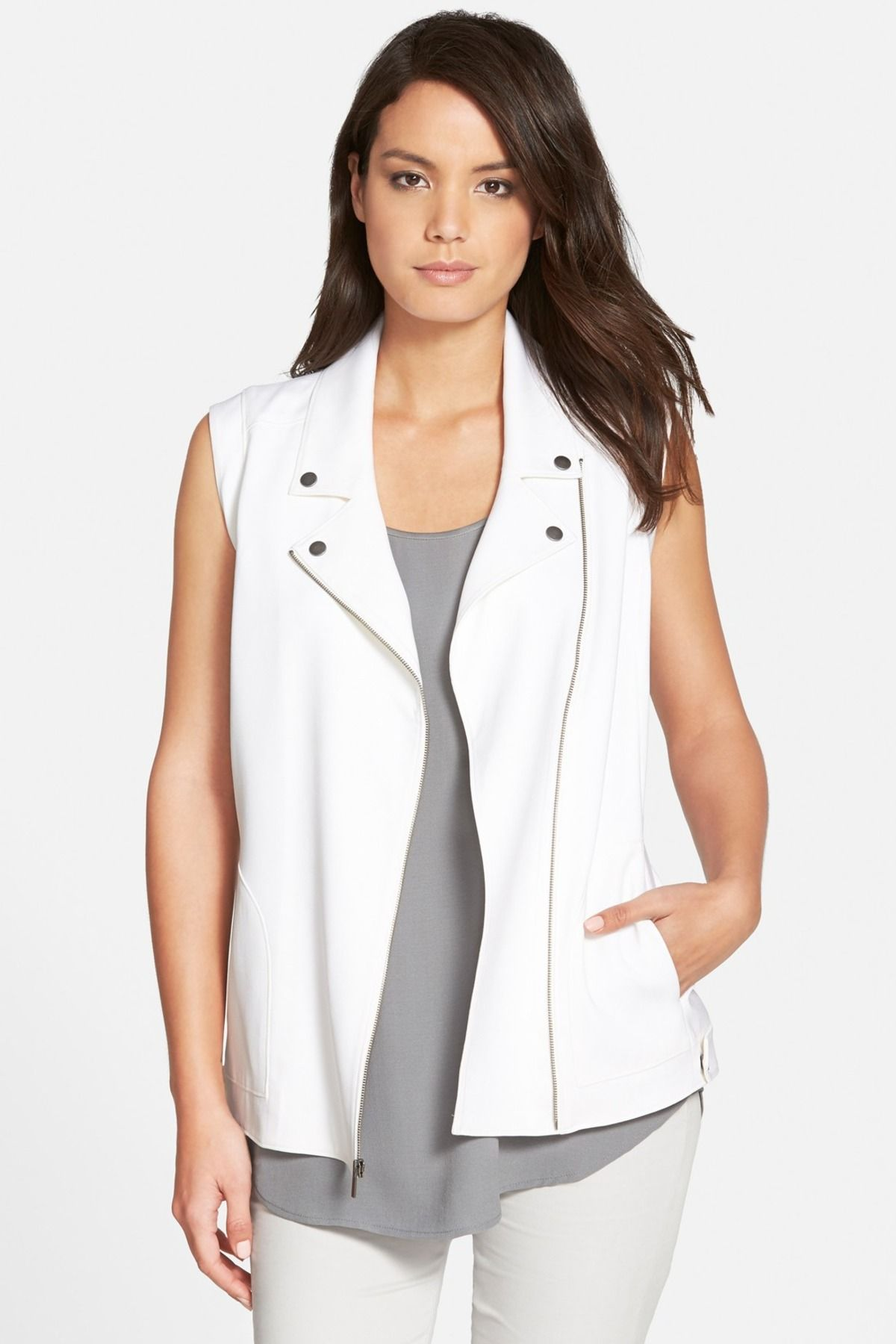 Classiques Entier - 'Kiara' Zip Front Silk Vest at Nordstrom Rack. Free Shipping on orders over $100.