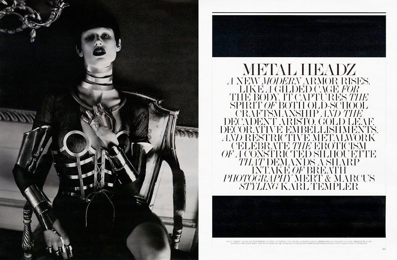 Interview Magazine, March 2012 Photographer / Mert and Marcus Stylist / Karl Templer Lynn Ban Jewelry / Sterling Silver Smooth Armor Ring