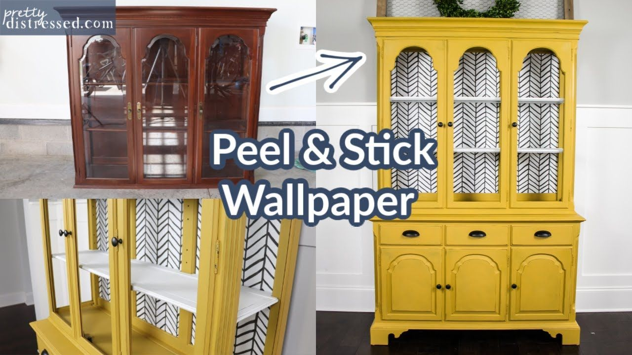 Use Peel And Stick Wallpaper On Furniture Chalk Paint Glass Shelves Youtube In 2020 Wallpaper Furniture Peel And Stick Wallpaper Glass Shelves