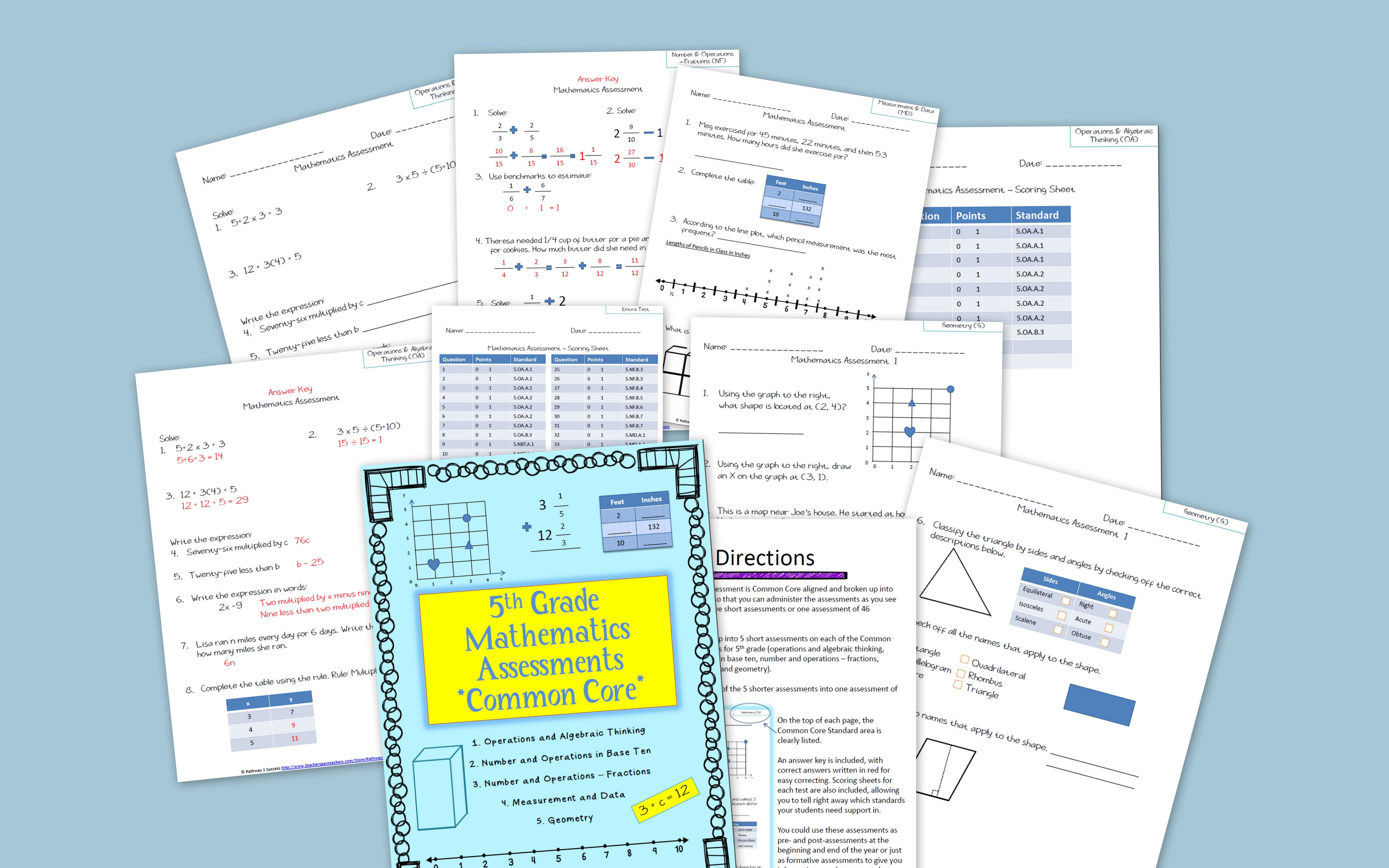 5th Grade Math Assessments For Common Core