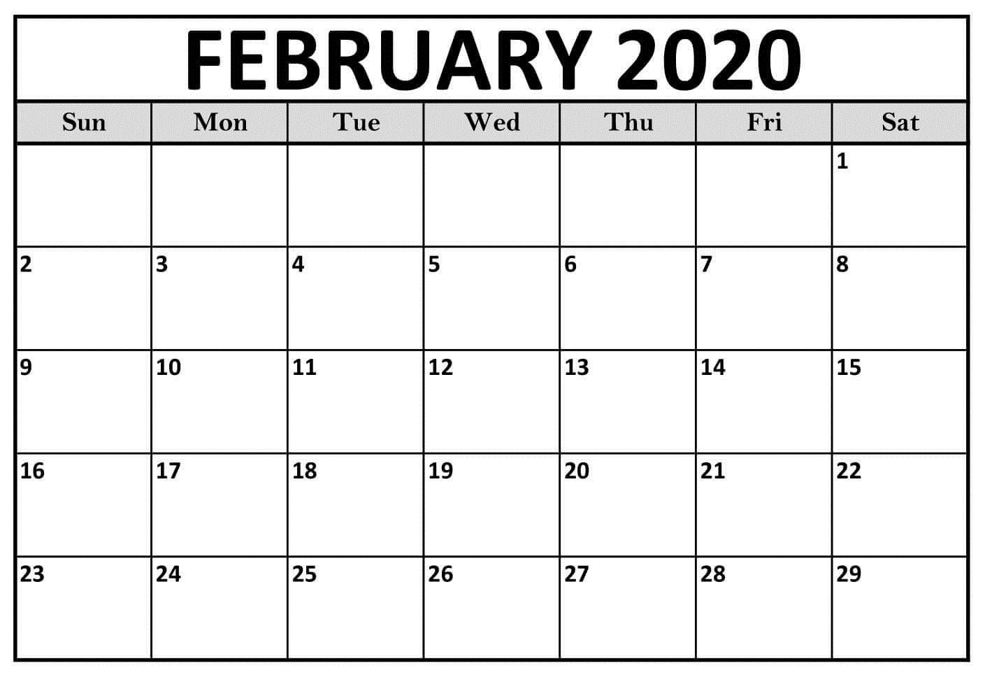 Calendar February 2020 Printable Pdf Calendar 2019 Template