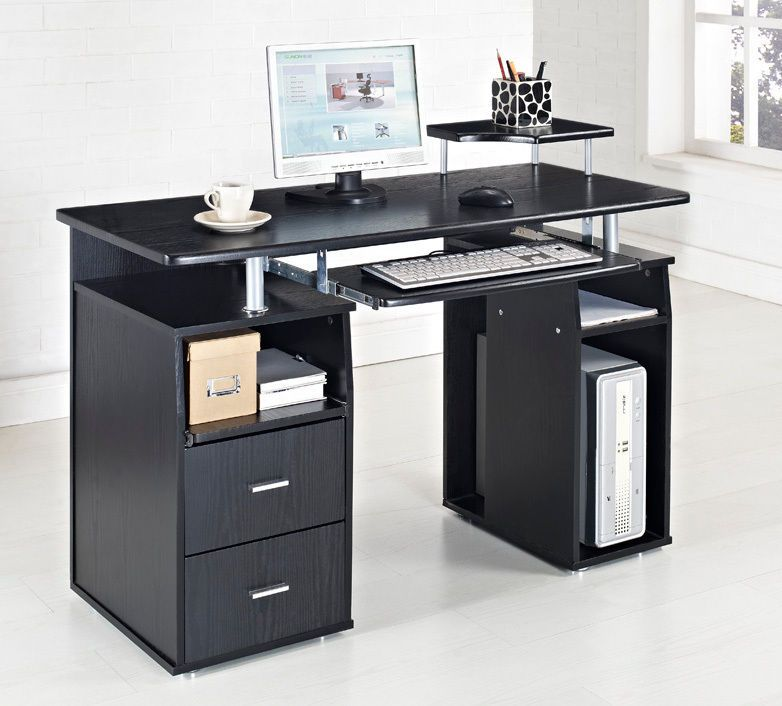 Black Computer Desk Table Furniture For Cool Black White Home - Desks incorporate recessed computer technology