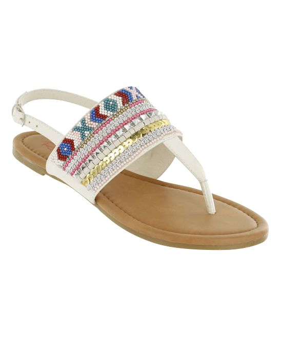 81767caecd4b76 White Aliana Beaded Sandal