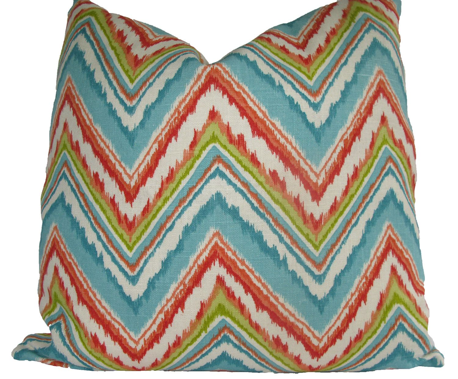 Decorative Designer Ikat Chevron Pillow Cover, Coral, Turquoise, Orange, Chartreuse 18x18, 20x20, 22x22, Throw Pillow. $38.00, via Etsy.