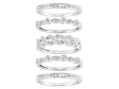 .45ctw Round Diamond Rhodium Over Sterling Silver Stackable Bands Set Of Five