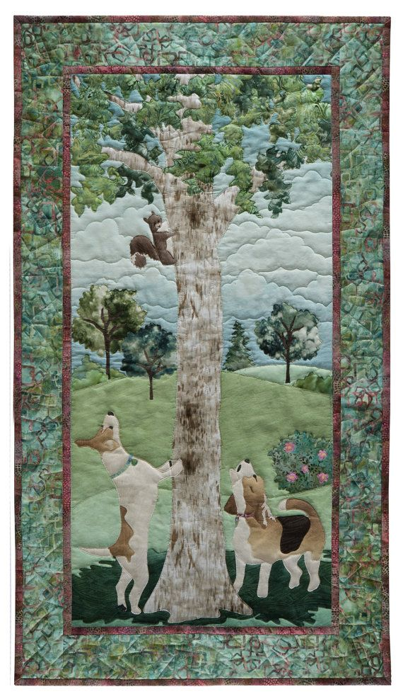 Thrill Of The Chase Mckenna Ryan Dog Park Quilt Pattern Etsy Landscape Quilts Dog Quilts Tree Quilt