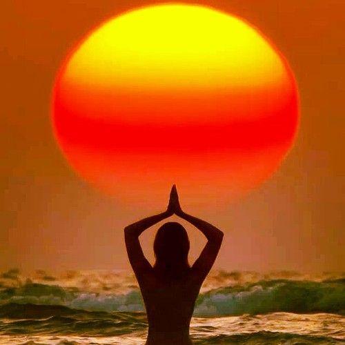 #yoga #beach #sunset #namaste