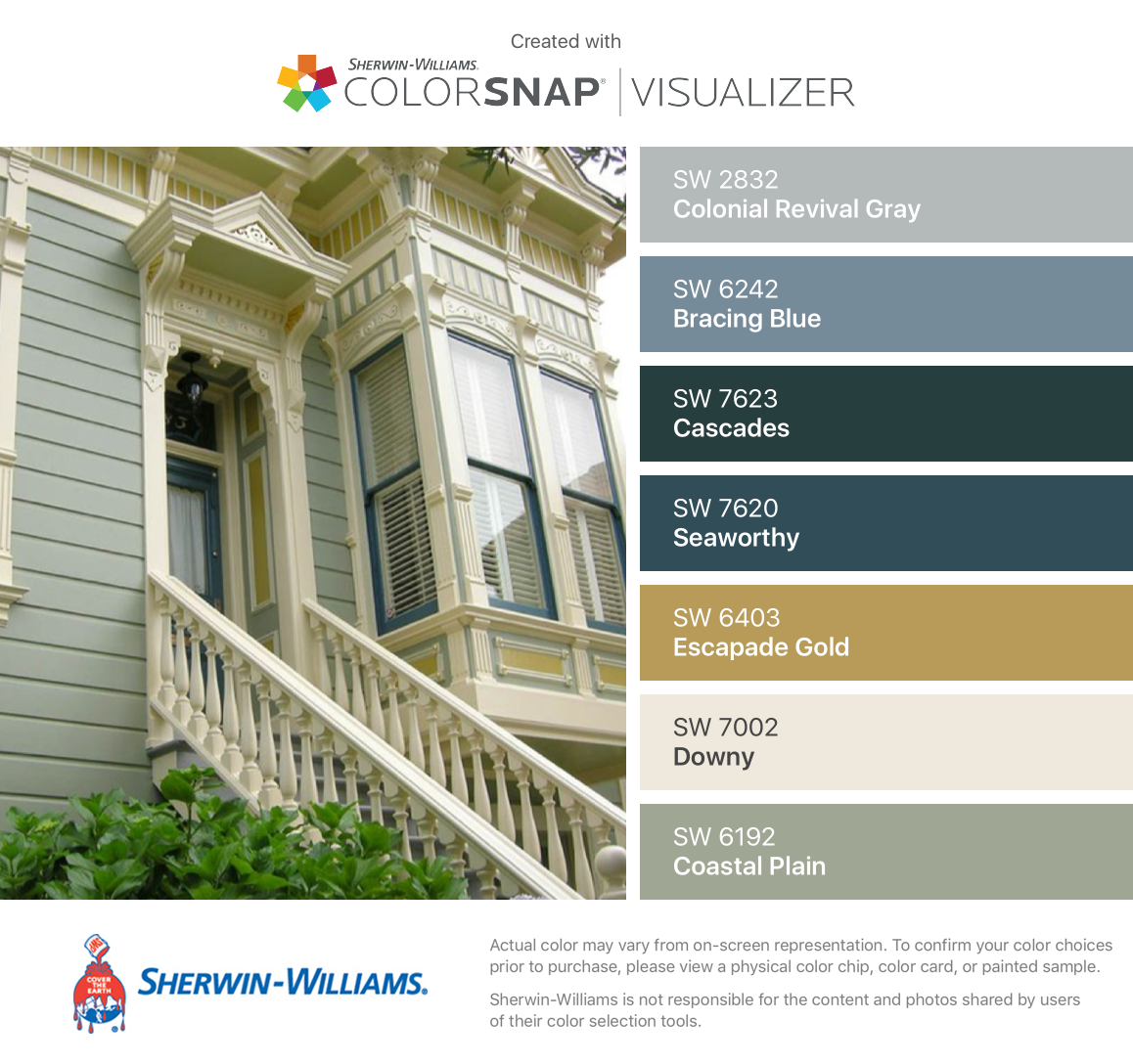 I Found These Colors With Colorsnap Visualizer For Iphone By Sherwin Williams Colonial Reviv Green House Exterior House Paint Exterior Victorian House Colors
