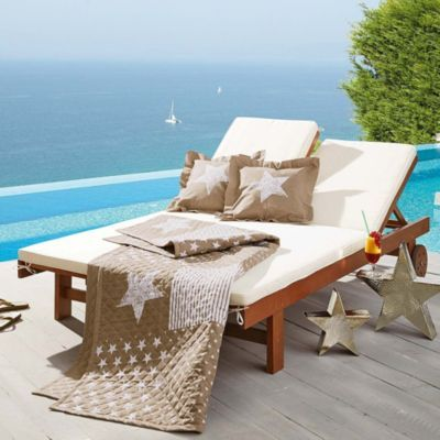 gartenliege in doppelgr e aus eukalyptusholz inkl auflage pinterest gartenliege. Black Bedroom Furniture Sets. Home Design Ideas