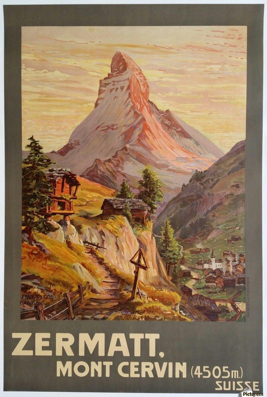 Suisse Zermatt Mont Cervin Travel Poster Vintage Poster Toile Artwork Travel Posters Travel Postcard Vintage Travel Posters