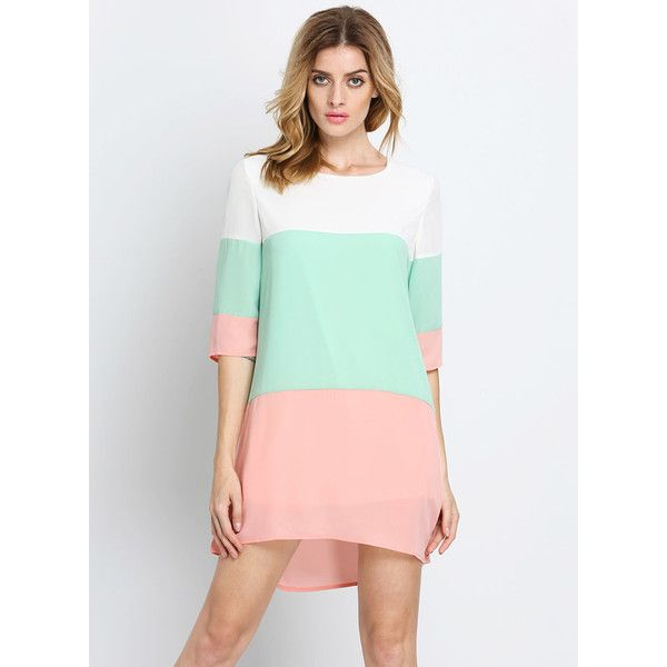 Pink Green White Color Block Pastel Shifts Dress (67 PEN) ❤ liked ...