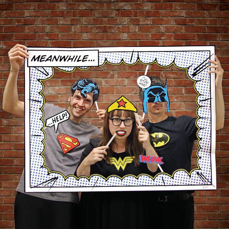 85d79532eded Superhero Photo Booth Props Includes Frame Batman Superman Wonder Woman   DCCOMICS  Parties