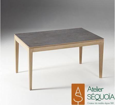 Table repas ch ne dessus c ramique ouverture en bout de table allonge en bois ou en c ramique - Table salon dessus ceramique ...