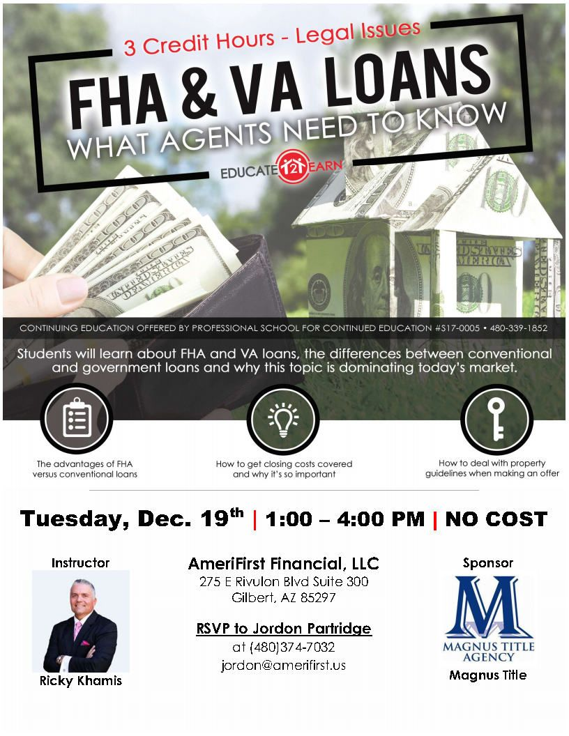 FHA & VA Loans Legal Issues. Instructor Ricky Khamis