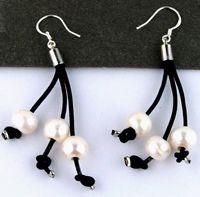 8b6bc3497d96 Pendientes de cuero y perlas con gancho de plata - Mayoristas bisuteria
