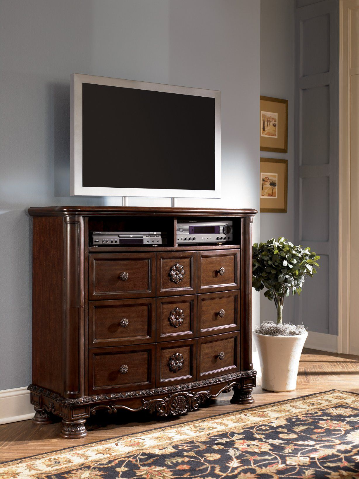 North Shore Media Chest in Dark Wood CLEARANCE Furniture