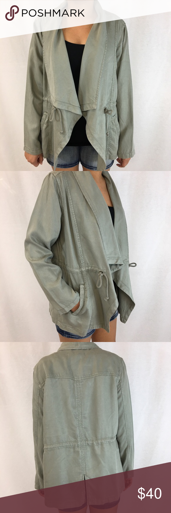 Silver sage drawstring waist jacket Washed olive color jacket with drawstring waist & pockets. Back bottom hem with slit. Wide lapel collar is sewn down. Light weight canvas material. Size Large. NEW WITH TAGS. Easy to dress up or down. max jeans Jackets & Coats