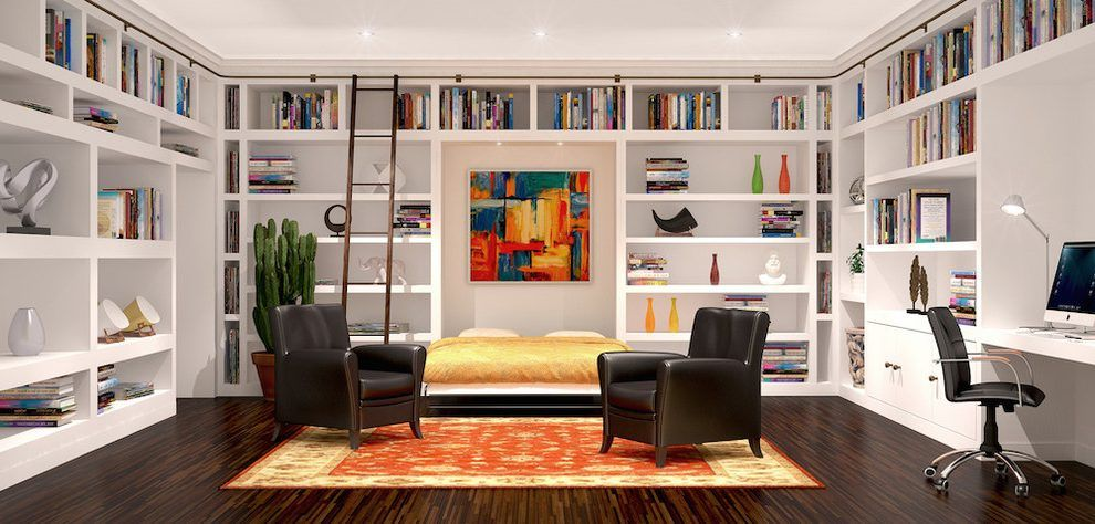 Built In Book Case Rendering Modern With Wall Beds Wall Bed Custom Made Wall Bed Jpg 990 474 Modern Murphy Beds Murphy Bed Ikea Wall Bed