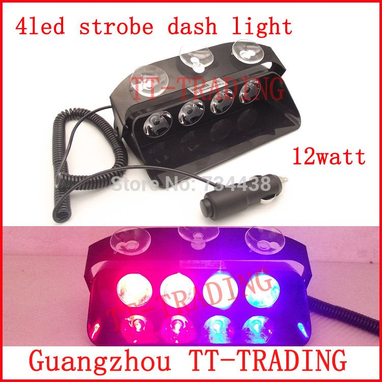 Strobe Lights For Cars Impressive 4Led Vehicle Strobe Light 12W Police Strobe Lights Car Dash Board Design Decoration