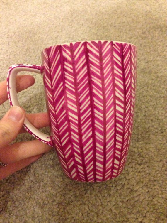 Herringbone Coffee Mug Dark pink by DesignedByAlly on Etsy