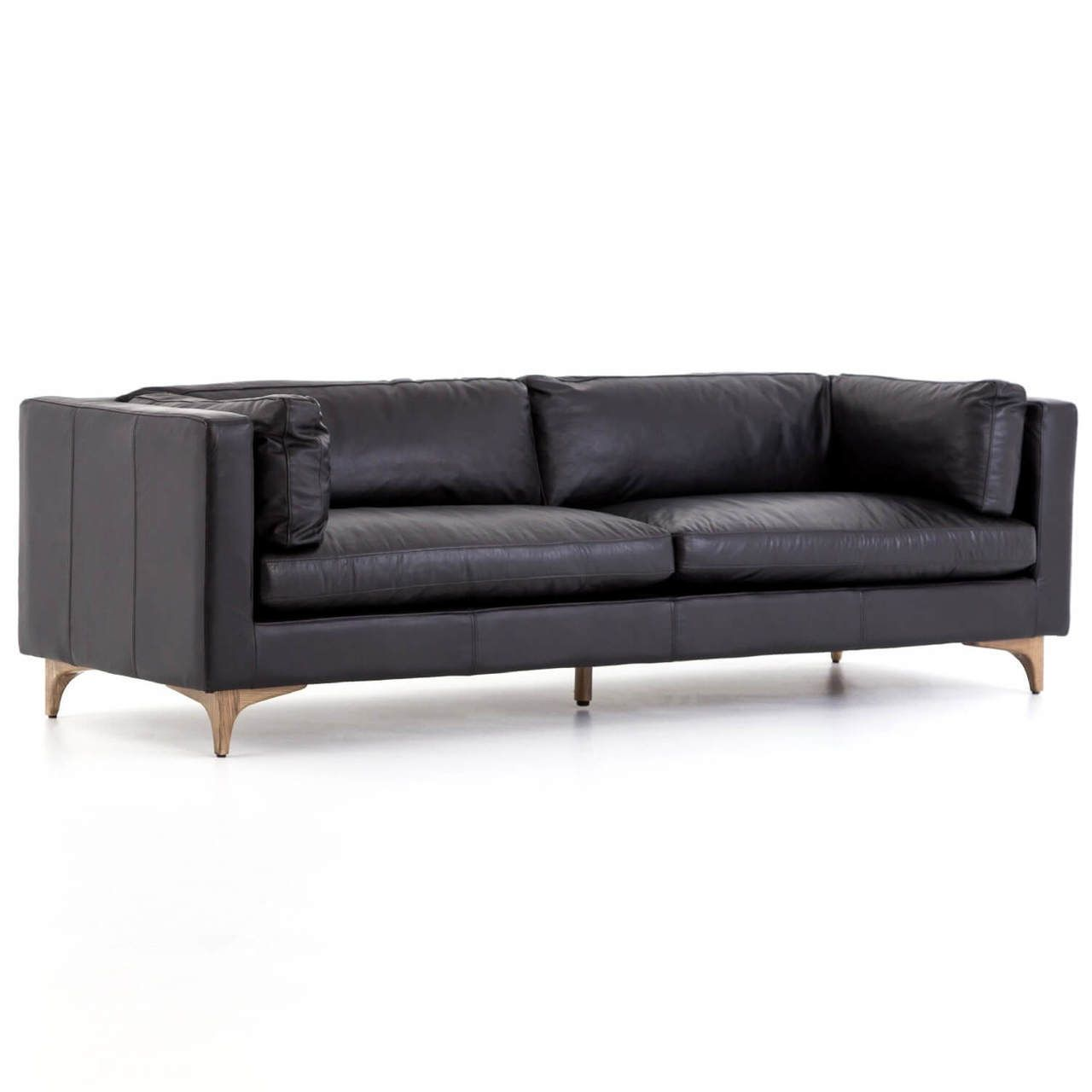 Beckwith Mid Century Modern Black Leather Cushion Back Sofa 94