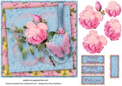 """Pink Rose Shabby Chic 7"""" x 7"""" card front"""