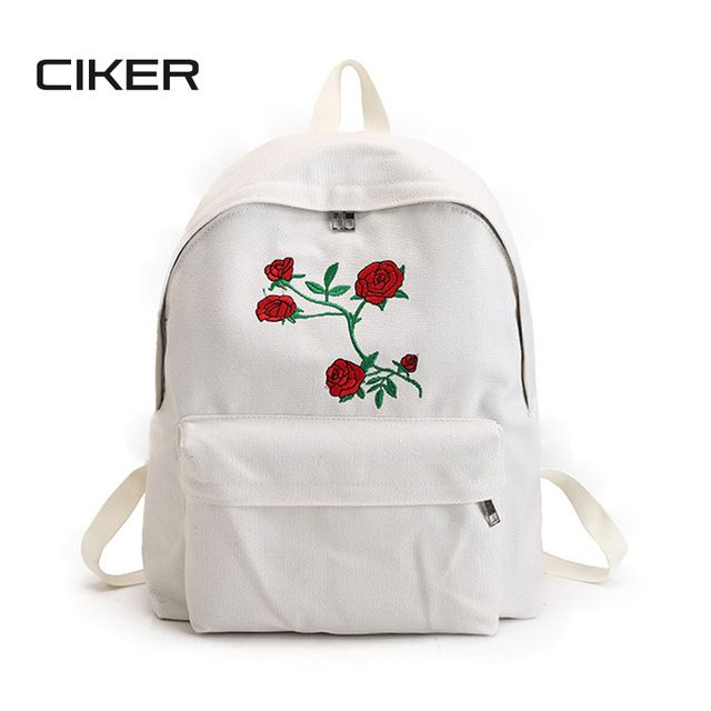 Daily Deals  14.49, Buy CIKER Women canvas backpack cute fashion rose  printing backpacks for teenagers df7454410d1