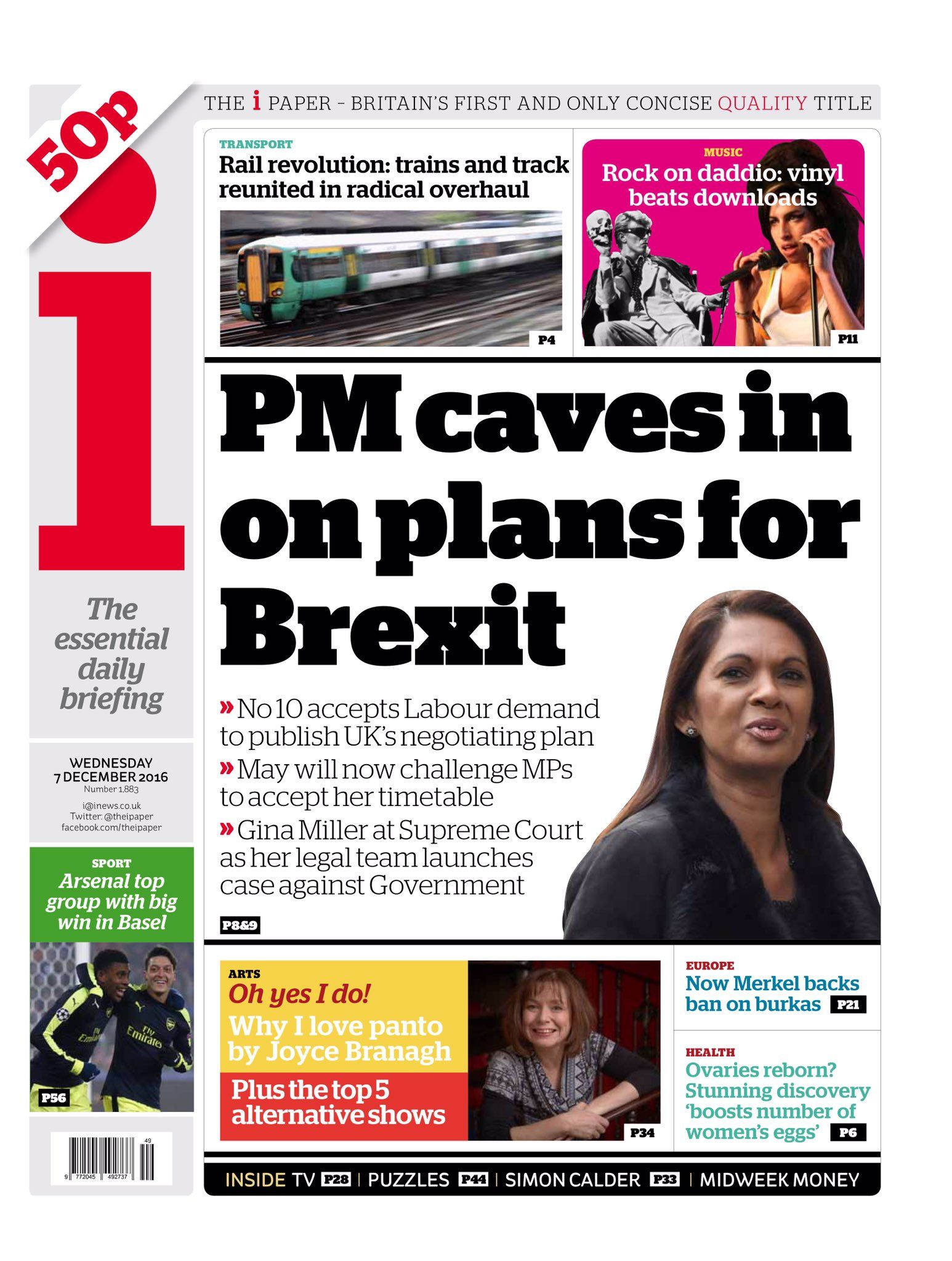 Wednesday's i front page: PM caves in on plans for Brexit #tomorrowspaperstoday #bbcpapers https://t.co/10gwJJl6Qq