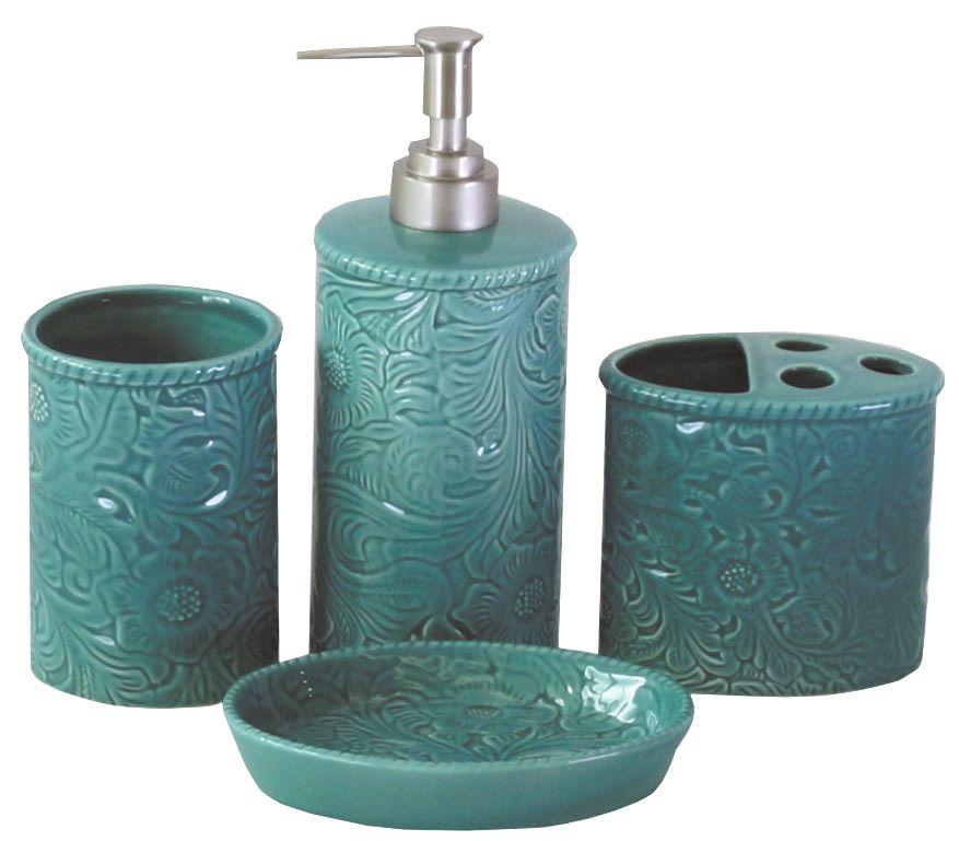 Beau Turquoise 4PC Savannah Bathroom Set