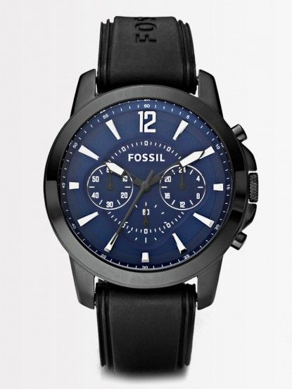 4d5fa178c8ad Relojes Para Hombres · Fossil Men s FS4609 Chronograph Grant Silicone Black  with Blue Watch