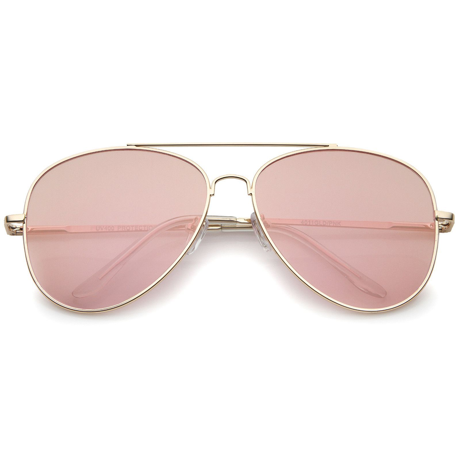 Large Metal Rose Gold Frame Pink Mirror Flat Lens Aviator Sunglasses ...