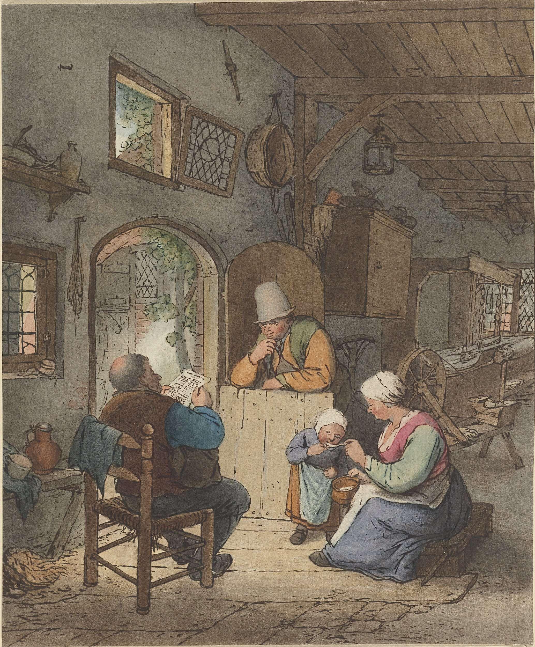 Cornelis Ploos van Amstel | Krantlezer in interieur, Cornelis Ploos van Amstel, Adriaen van Ostade, 1766 | In een interieur leest een man de krant en geeft een vrouw een kind te eten. Op de geopende onderdeur leunt een man.