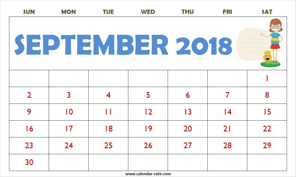 September 2018 Calendar Printable Tumblr September 2018 Calendar