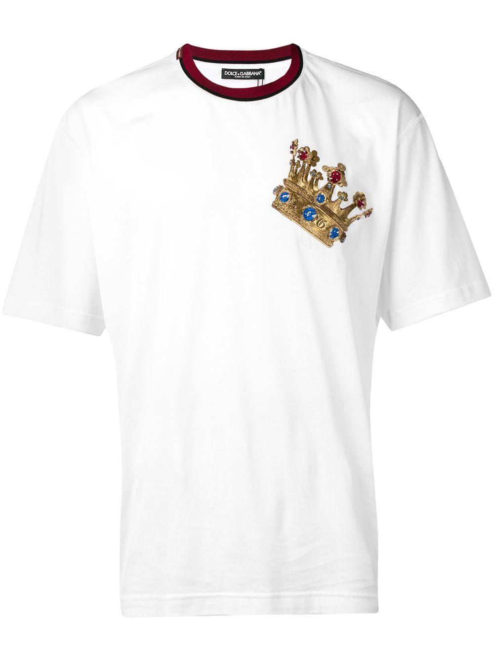 21b202e99 DOLCE & GABBANA DOLCE & GABBANA EMBROIDERED CROWN T-SHIRT - WHITE. # dolcegabbana #cloth