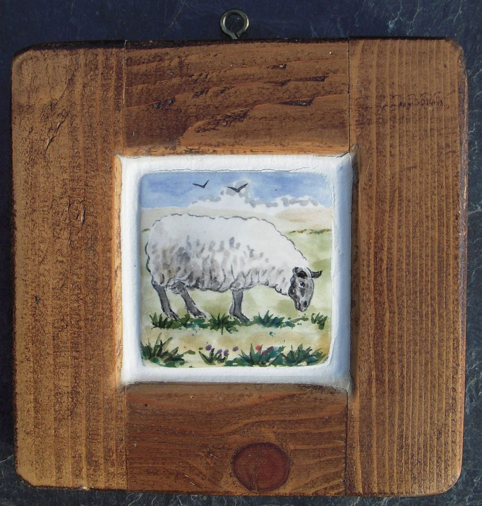 Hand painted ceramic tile woodenwood frame wall art sheep david hand painted ceramic tile woodenwood frame wall art sheep davidlouise salsbury dailygadgetfo Images