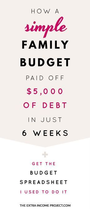 How a Simple Family Budget helped pay off $5000 of debt in just 6 - free download budget spreadsheet