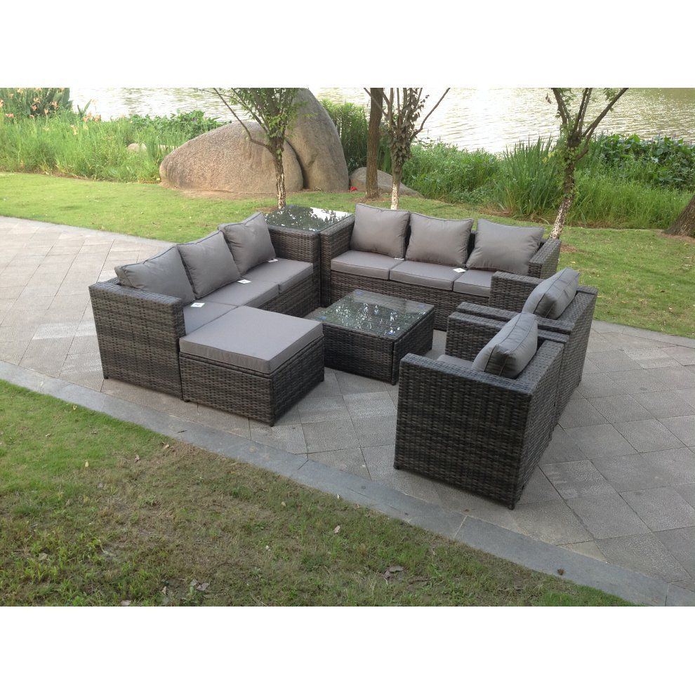10 Seater Rattan Corner Garden Sofa Dining Table Set in 10  Sofa